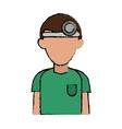 cartoon doctor with head mirror and green uniform vector image vector image