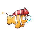 cartoon fish with rocket vector image vector image