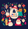 christmas decorative in vintage style with funny vector image