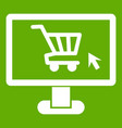 computer monitor with shopping cart icon green vector image vector image