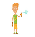 cool guy showing bottle spray vector image vector image