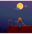 Cupid on the roof under the moon vector image