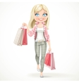 Cute blond shopaholic girl goes with paper bags vector image vector image