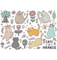 cute cats collection with mouses birds trees vector image vector image