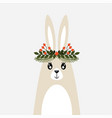 cute christmas card with a picture of a rabbit vector image vector image