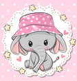 cute elephant in panama hat on a pink background vector image vector image