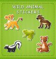 cute wild animals cartoon on sticker vector image