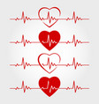 ecg lines with hearts vector image