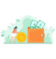 female with coin and dollar money in cash vector image
