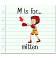Flashcard letter M is for mitten vector image vector image