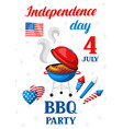 fourth july independence day bbq party banner vector image vector image