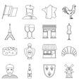 France travel icons set outline style vector image vector image