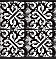 greek floral striped black and white seamless vector image vector image