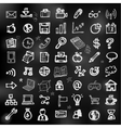 Hand drawn business icons on chalkboard vector image vector image