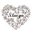 heart made of flowers in doodle design element vector image