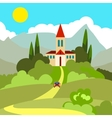 House on the hill in the hot sun vector image vector image