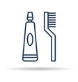 isolated icon of toothpaste and brush vector image vector image