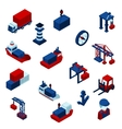 Isometric Color Seaport Icons Set vector image vector image