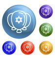 jewish ballons icons set vector image