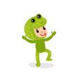 joyful little kid having fun in green frog vector image vector image