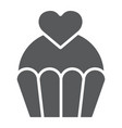 love cake glyph icon sweet and muffin cupcake vector image