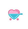 love with shopping cart icon simple heart line vector image