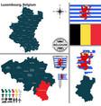 map of luxembourg belgium vector image vector image