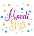 mardi gras hand lettering multicolored beads are vector image