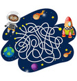 monkey astronaut maze game vector image