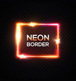 neon background glowing rectangle frame vector image vector image