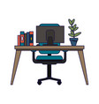 office desk with computer vector image vector image