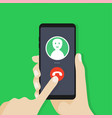 outgoing call hand holding cellphone vector image
