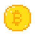 pixel bitcoin icon vector image vector image