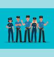 policemen group women and men cops vector image
