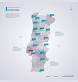 portugal map with infographic elements pointer vector image