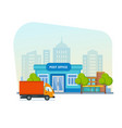 post office with postman riding car for delivery vector image