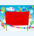 red blank banner with balloons and festive vector image