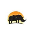rustic rhino logo design vector image