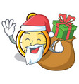 santa with gift chronometer character cartoon vector image vector image