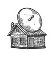 satellite dish on old house engraving vector image vector image
