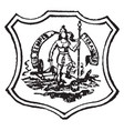 seal of the commonwealth of virginia 1890 vintage vector image vector image