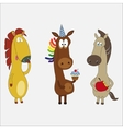 set funny horses cartoon character vector image