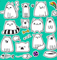 Set of 11 doodle cats with different emotions Cat vector image
