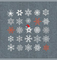 set of colored snowflakes line icons vector image