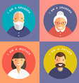 Set of Family Members Portraits Grandpa Grandma vector image