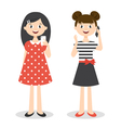 two little cute girls with smartphones vector image