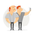 two man taking selfie photo vector image vector image