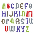 wavy alphabet letters set hand-drawn colorful vector image