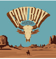 western banner with a bulls skull and lone cowboy vector image