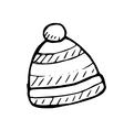 winter hat doodle vector image vector image
